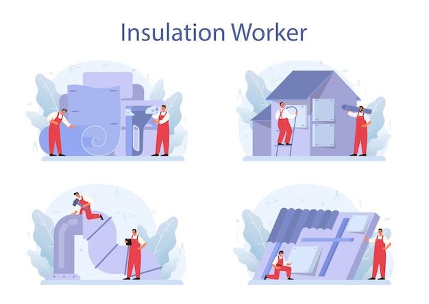 Isolatie concept set. thermische of akoestische isolatie. Premium Vector