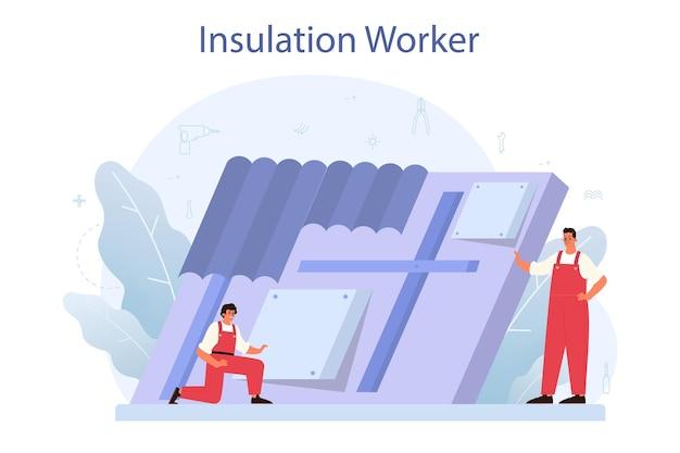 Isolatie concept. thermische of akoestische isolatie. bouwnijverheid, werknemer die isolatiematerialen aanbrengt. bouwdienst, huisrenovatie. Premium Vector