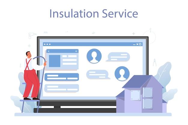 Isolatie online service of platform. thermische of akoestische isolatie. werknemer die isolatiematerialen aanbrengt. website. Premium Vector