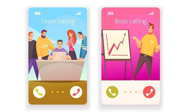 Isoleerde het coworking vlakke ontwerpconcept met twee smartphones vraag aan werkgever of creatieve team geïsoleerde illustratie Gratis Vector