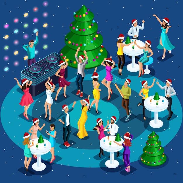 Isometrics-viering van kerstmis, nieuwjaar, meisjes in sexy kleding dansen, mooie mannen dansen, nachtclubfeest, bedrijfsfeest Premium Vector