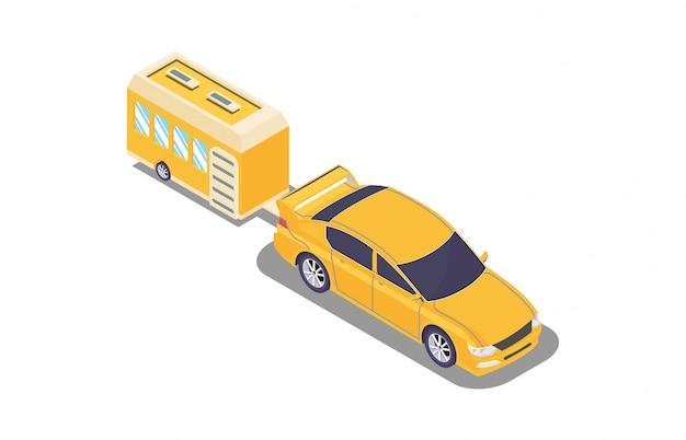 Isometrie voertuig met kampeercaravans Premium Vector