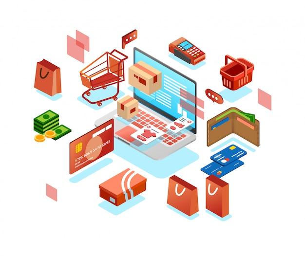 Isometrisch 3d pictogram van online het winkelen systeem met laptop, portefeuille, karretje, geld, kaart en andere online het winkelen illustratievector Premium Vector