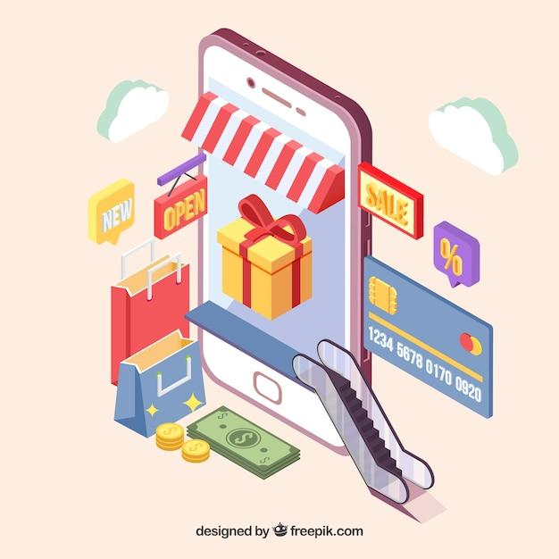 Isometrisch aanzicht van een shopping applicatie Gratis Vector