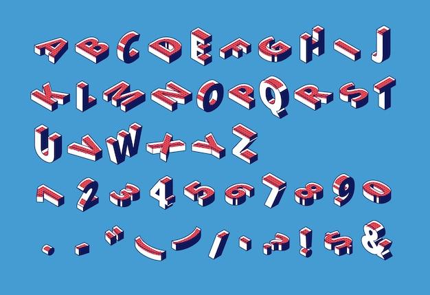 Isometrisch alfabet, abc, cijfers en interpunctie. Gratis Vector