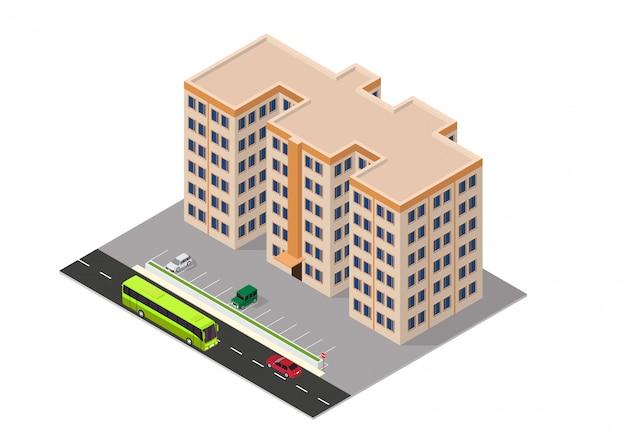 Isometrisch appartementengebouw Premium Vector