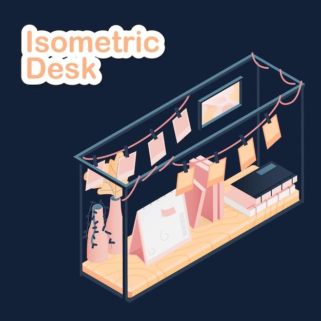 Isometrisch bureau op donker Premium Vector