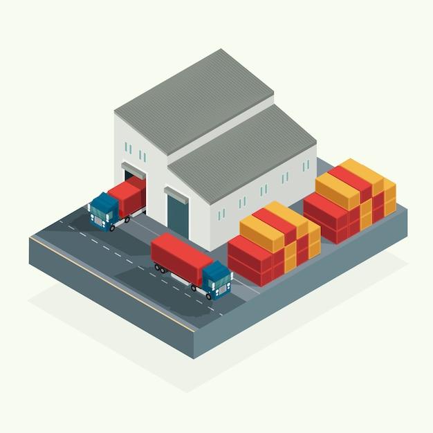 Isometrisch, cargo-logistiekvrachtwagen en vervoerscontainer in verschepende werf. illustratie vector Premium Vector