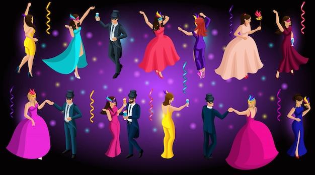 Isometrisch carnaval, mannen en vrouwen in maskers, venetiaanse maskerade, dansen, prachtige weelderige jurken Premium Vector