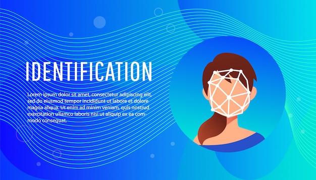 Isometrisch concept gezichtsidentificatie van jonge vrouw. Premium Vector
