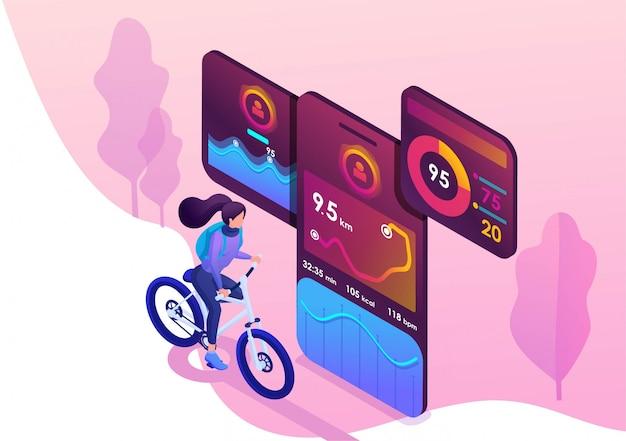Isometrisch concept met een fiets Premium Vector