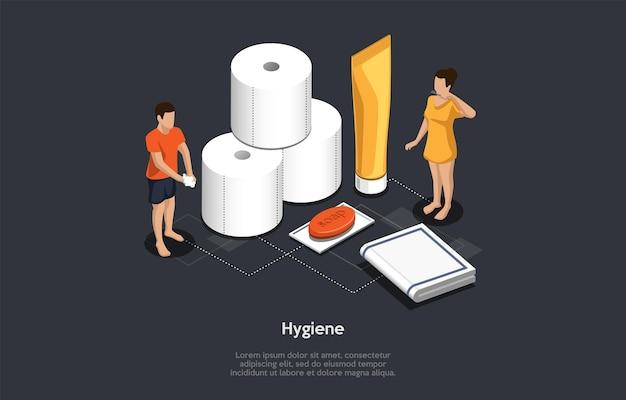 Isometrisch concept van aanbevelingen voor persoonlijke hygiëne, preventieve maatregelen van geïnfecteerd door virussen. mensen wassen handen met zeep, gebruik natte servetten, schone tanden met tandpasta. cartoon vectorillustratie. Premium Vector