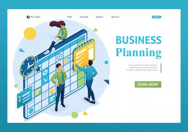 Isometrisch concept van het team dat werkt aan het businessplan, werknemers vullen de kalendervelden in. 3d isometrisch. landingspagina concepten en webdesign Premium Vector