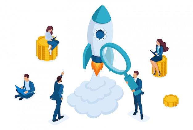 Isometrisch concept van investeren in startups, raketlancering, jonge ondernemers. Premium Vector