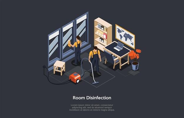 Isometrisch concept van ruimtedesinfectie, reiniging van ongediertegif. mensen in speciale werkpakken gebruiken stofzuiger en desinfecterende schone, desinfecterende kamer, kantoor van virussen. cartoon vectorillustratie. Premium Vector