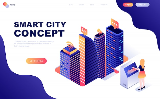 Isometrisch concept van smart city-technologie Premium Vector
