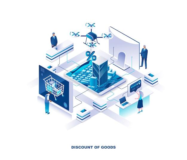 Isometrisch concept voor internetwinkel kortingen of verkoop Premium Vector