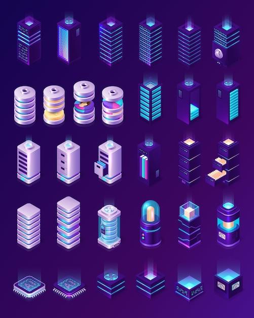 Isometrisch datacenter, serverruimte-apparatuur, hardwarerekken of pictogrammen voor webhostinginfrastructuur geïsoleerd Gratis Vector