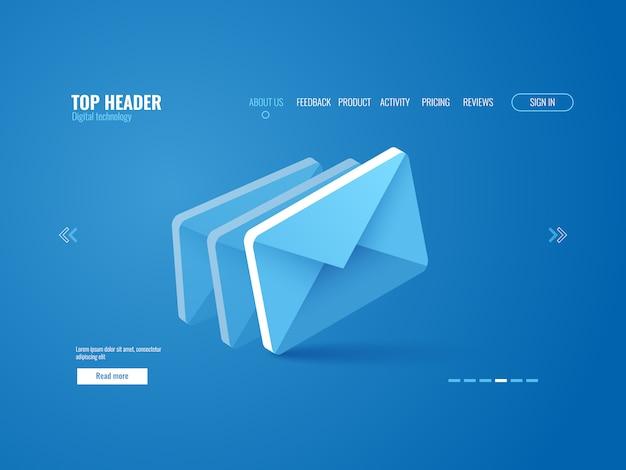 Isometrisch e-mailpictogram, het malplaatje van de websitepagina op blauwe achtergrond Gratis Vector