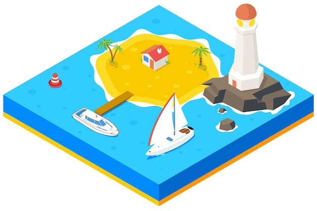 Isometrisch eiland met schip, jacht en zee. 3d achtergrond concept. strandparadijs, palm en pier, huisvesting en vuurtoren, Gratis Vector