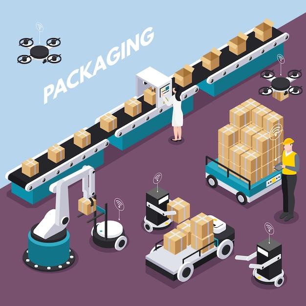 Isometrisch en gekleurd slim de industrieconcept met verpakkingsstap bij de fabrieks vectorillustratie Gratis Vector