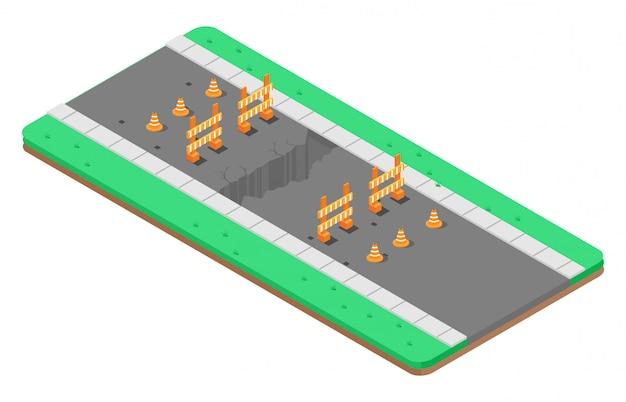 Isometrisch gat op een snelweg met waarschuwingsborden Premium Vector