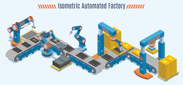 Isometrisch geautomatiseerd productielijnconcept met industriële transportband en robotachtige mechanische armen geïsoleerd Gratis Vector