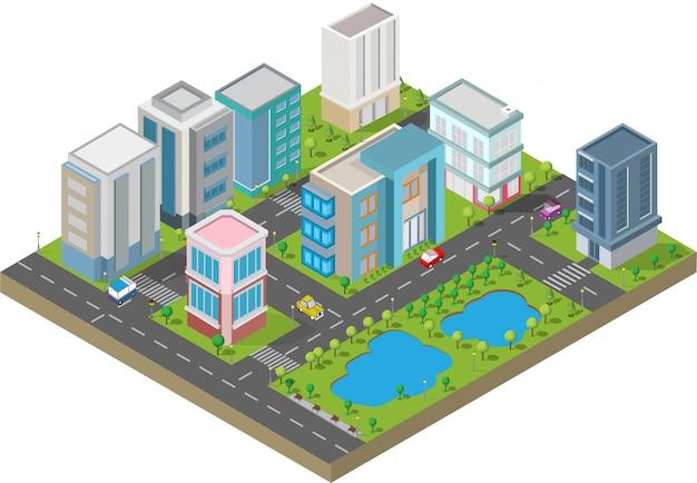 Isometrisch gebouw. ze zijn op yard met weg en bomen. slimme stad en openbaar park Premium Vector