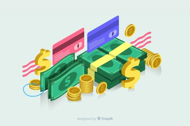 Isometrisch geld in plat ontwerp Gratis Vector