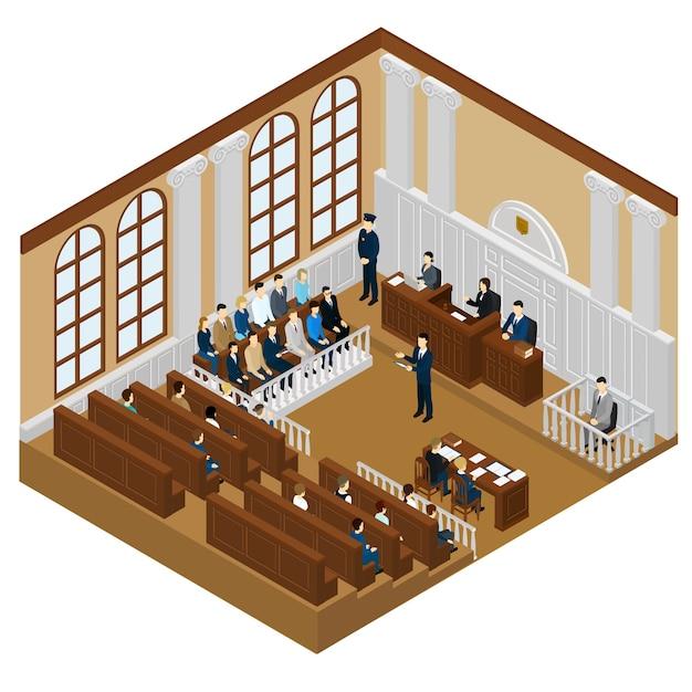 Isometrisch gerechtelijk systeemconcept Gratis Vector