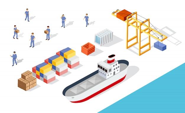 Isometrisch havenvrachtschip Premium Vector