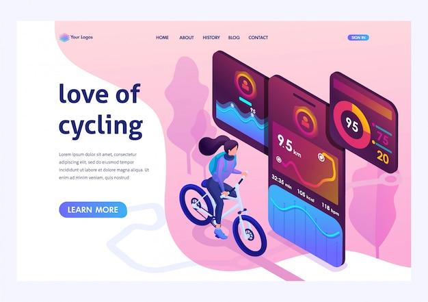 Isometrisch helder ontwerpconcept zoals fietsen Premium Vector