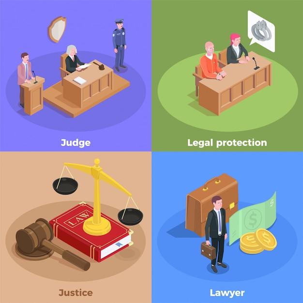 Isometrisch het ontwerpconcept van de wetsrechtvaardigheid met pictogrammen amd menselijke karakters van de zittingsdeelnemers van het hof met tekstillustratie Gratis Vector