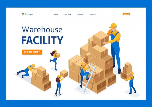 Isometrisch het werk van verhuizers in het magazijn, dozen plaatsen, goederen verzamelen landingspagina Premium Vector