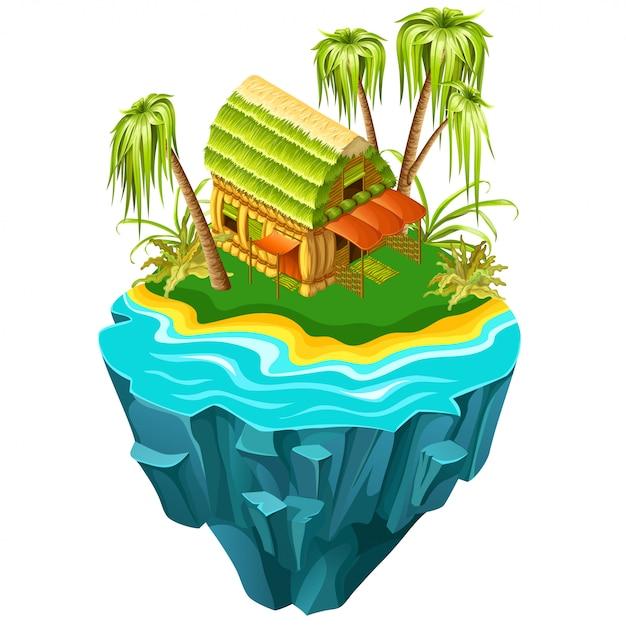 Isometrisch huisje op het eiland in zee. Premium Vector
