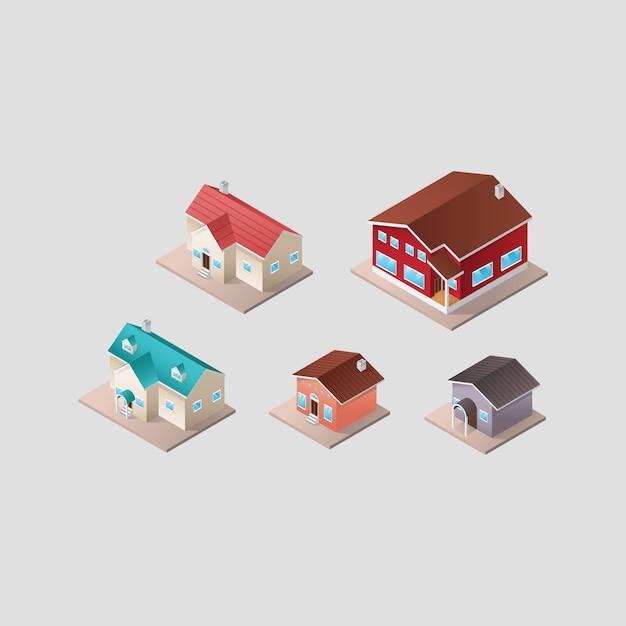 Isometrisch huizen collectie Gratis Vector