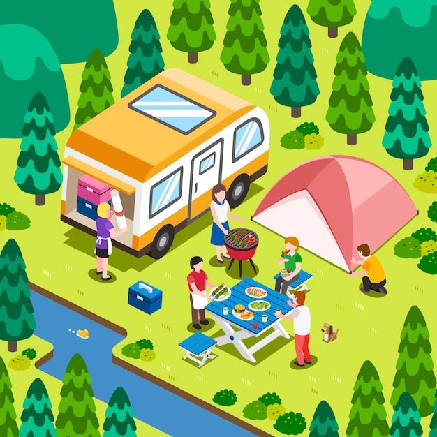 Isometrisch - kamperen in de natuur Premium Vector