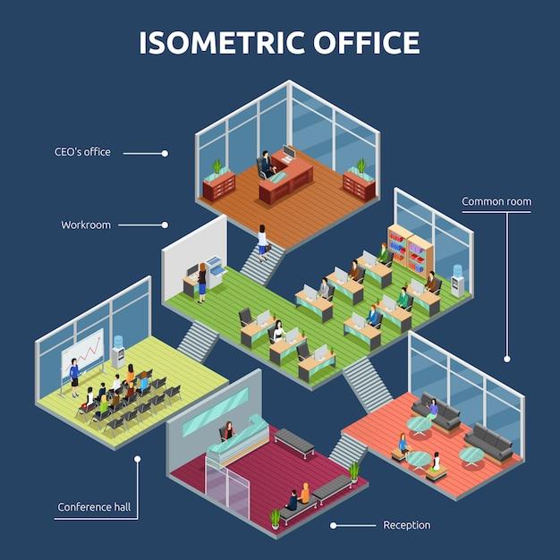 Isometrisch kantoorbouwplan Gratis Vector