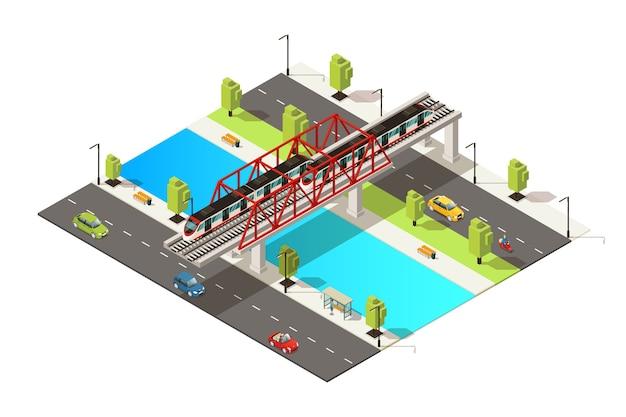 Isometrisch kleurrijk spoorwegvervoerconcept met autoscooter en passagierstrein die over rivier op geïsoleerde brug beweegt Gratis Vector