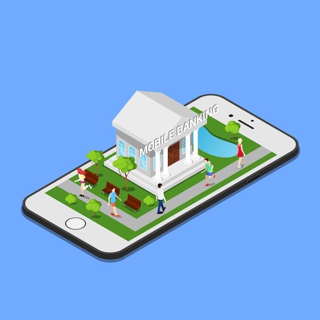Isometrisch mobiel bankieren. isometrische bank. mobiele betaling. Premium Vector