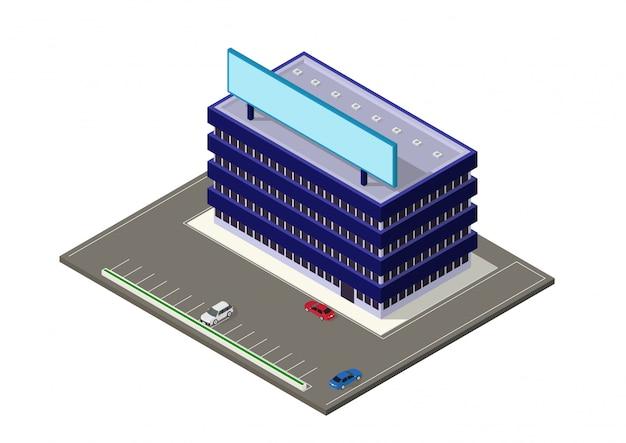 Isometrisch modern gebouw Premium Vector