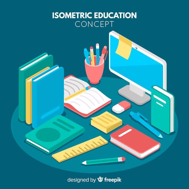 Isometrisch onderwijsconcept Gratis Vector