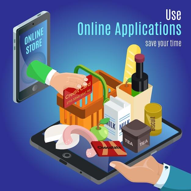 Isometrisch online bestelconcept met hand met verschillende producten op tablet- en creditcardbetaling Gratis Vector
