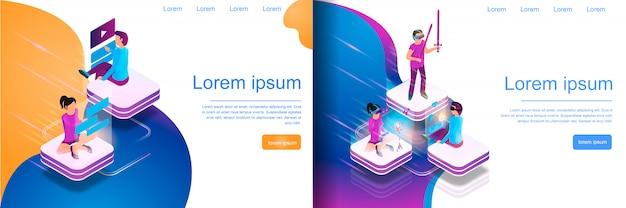 Isometrisch online communiceren, virtueel gamen Premium Vector