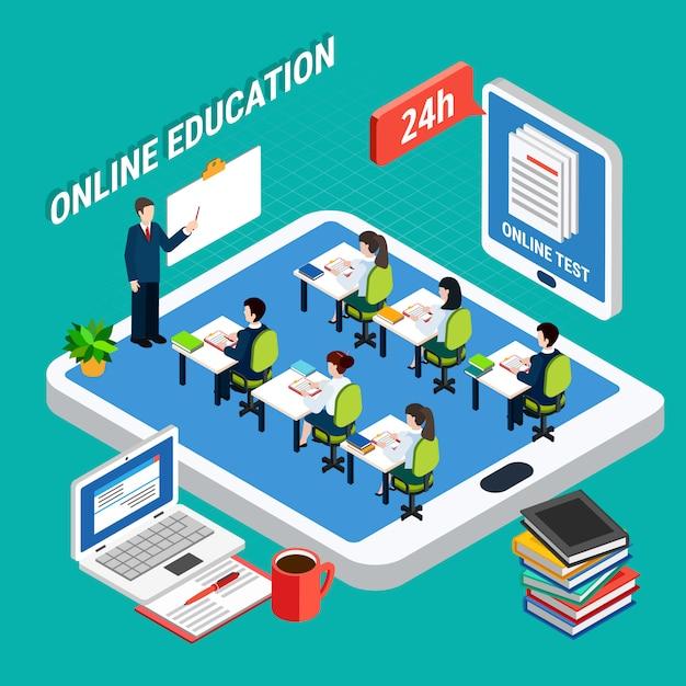 Isometrisch online onderwijs Gratis Vector