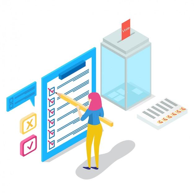 Isometrisch online onderzoekconcept met karakters, Premium Vector