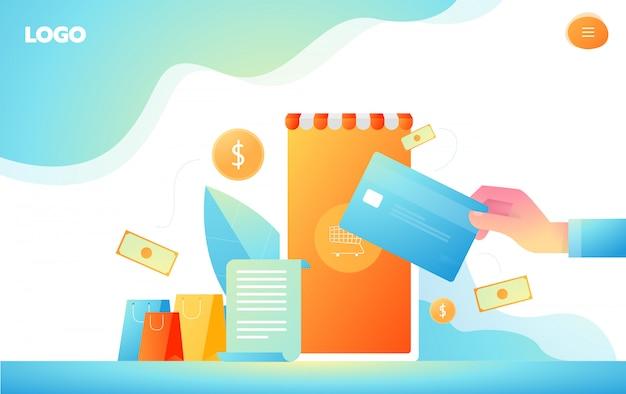 Isometrisch online winkelen en online betalingsconcepten. internetbetalingen, de overdracht van het beschermingsgeld, online bank vectorillustratie. Premium Vector