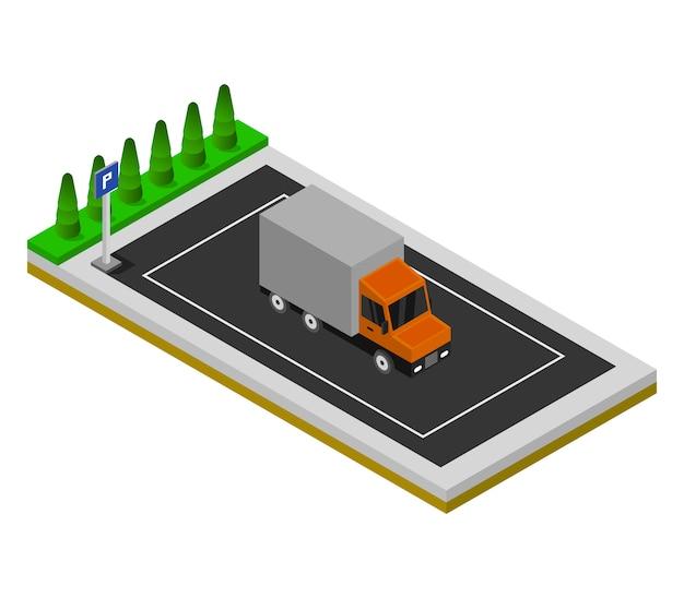 Isometrisch parkeren Premium Vector