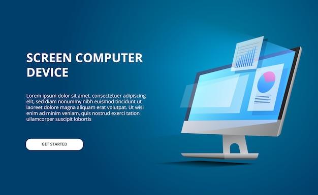 Isometrisch perspectief computerdesktop met gloedscherm. computer weergeven met infographic en gegevensvisualisatie cirkeldiagramstatistieken met blauwe achtergrond Premium Vector