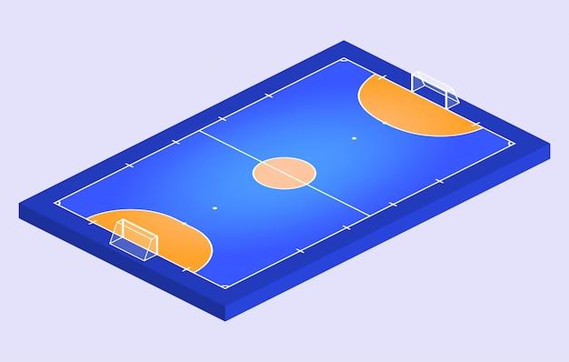Isometrisch perspectiefzicht veld voor zaalvoetbal. oranje overzicht van lijnen futsal veld illustratie. Premium Vector